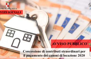 Gaeta / E' online il Bando pubblico per la concessione di contributi straordinari per il pagamento dei canoni di locazione 2020.